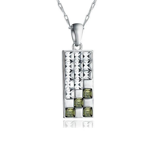 Pendentif Design en Cristal de Swarovski Elements Blanc et Noir et Plaqué Rhodium