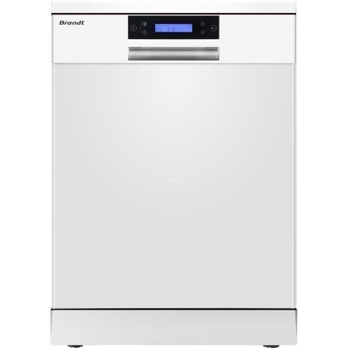 Lave-vaisselle pose libre BRANDT DFH144LW - 14 couverts - Largeur 60 cm - 44 dB - Blanc