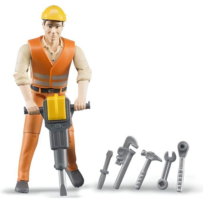 BRUDER - Figurine ouvrier avec accessoires de chantier - 10,7 cm