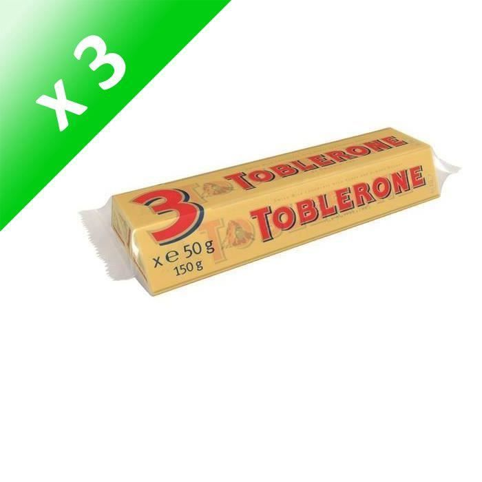 [LOT DE 3] TOBLERONE Chocolat Suisses au lait, tendre nougat au miel et aux amandes - 3x 50 g