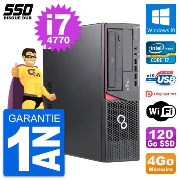 PC Fujitsu Esprimo E720 E85+ DT Intel i7-4770 RAM 4Go SSD 120Go Windows 10 Wifi