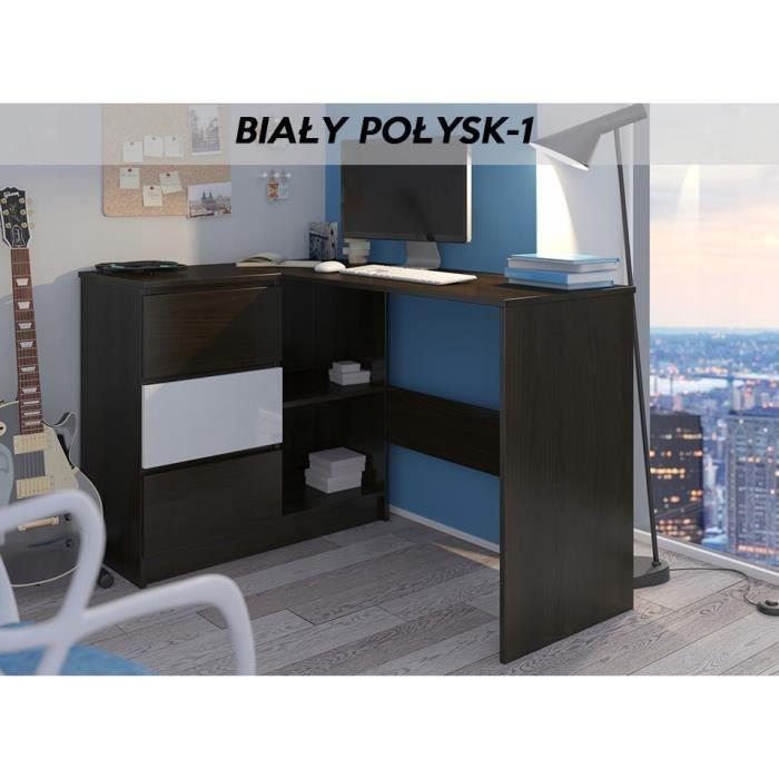 KIAN W - Bureau d'angle avec rangements + 3 tiroirs - 112x87x76 cm - Table d'ordinateur forme de L - Wengé-Blanc