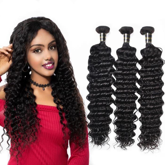 3 pièces Cheveux humains vierges brésiliens profonds de tissage de cheveux bouclés profonds 8+10+12pouces 100g-p