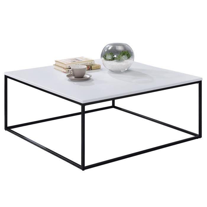 Table basse SAHARA table d'appoint de salon L75 x H40 x P75 cm bout de canapé design industriel, métal laqué noir et MDF blanc