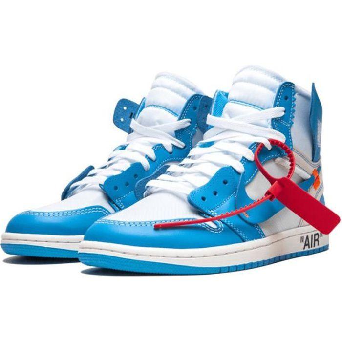 """Air Jordan 1 High OG """"UNC"""" Off-White x Chaussure de Sport AJ 1 Pas Cher pour Homme Femme Blue"""