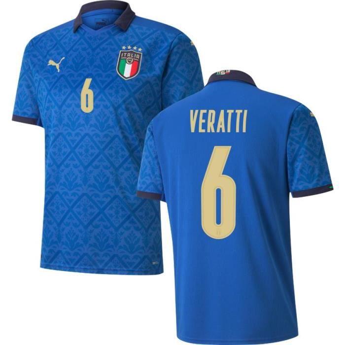 Nouveau Maillot de Foot Italie 6 Veratti Domicile Euro 20-21 Pas Cher Homme