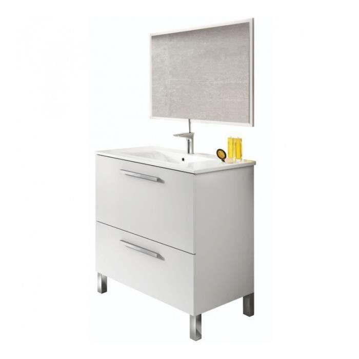 Meuble Sous-Vasque avec une Porte Abattante et 1 Tiroir + 1 Miroir coloris blanc brillant - 80 x 80 x 45 cm