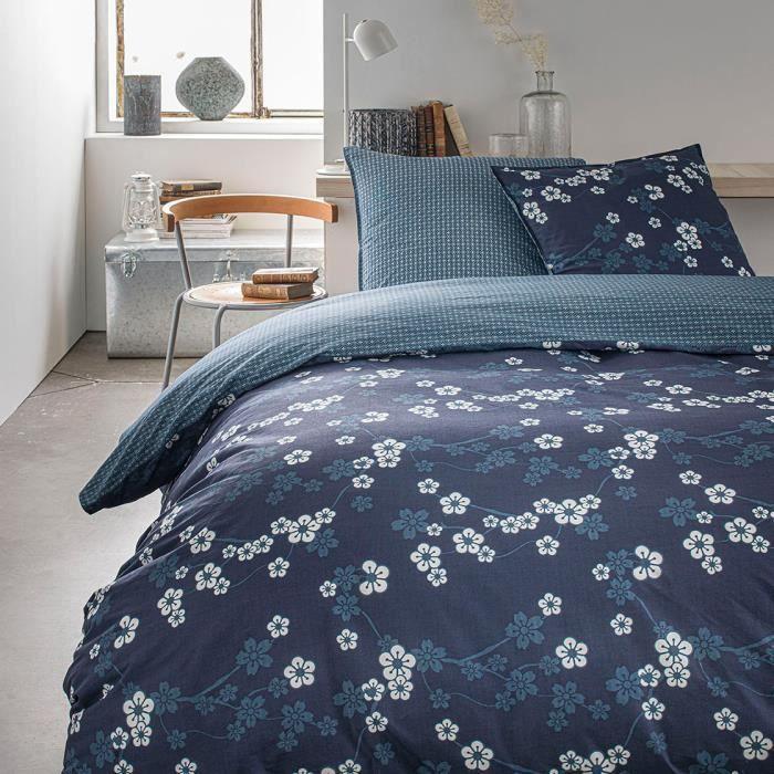 Parure de lit 2 personnes 220X240 Coton imprime bleu Floral SUNSHINE 5.11