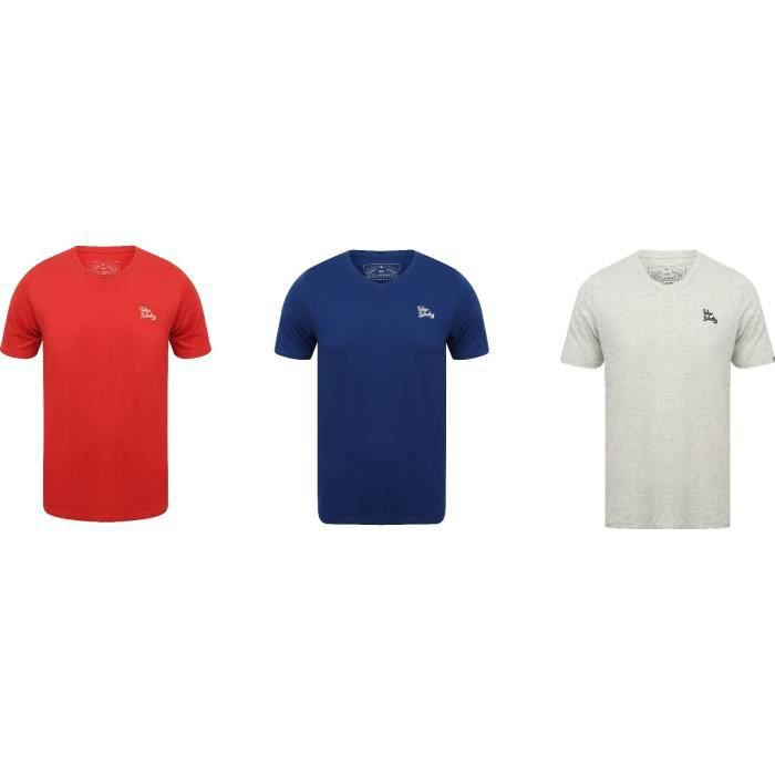 Tokyo Laundry Pack de 3 T-shirts col V rouge / blanc / bleu logo poitrine