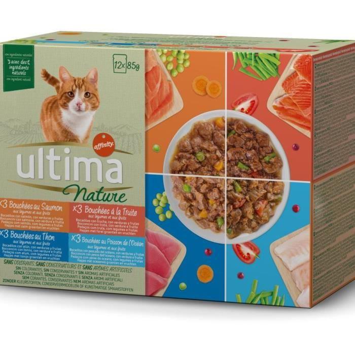 ULTIMA Pochons Poisson pour chat - 12 sachets de 85 g