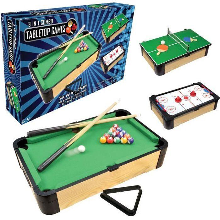 WDK Table de jeux 3 en 1 - 50 x 30 cm