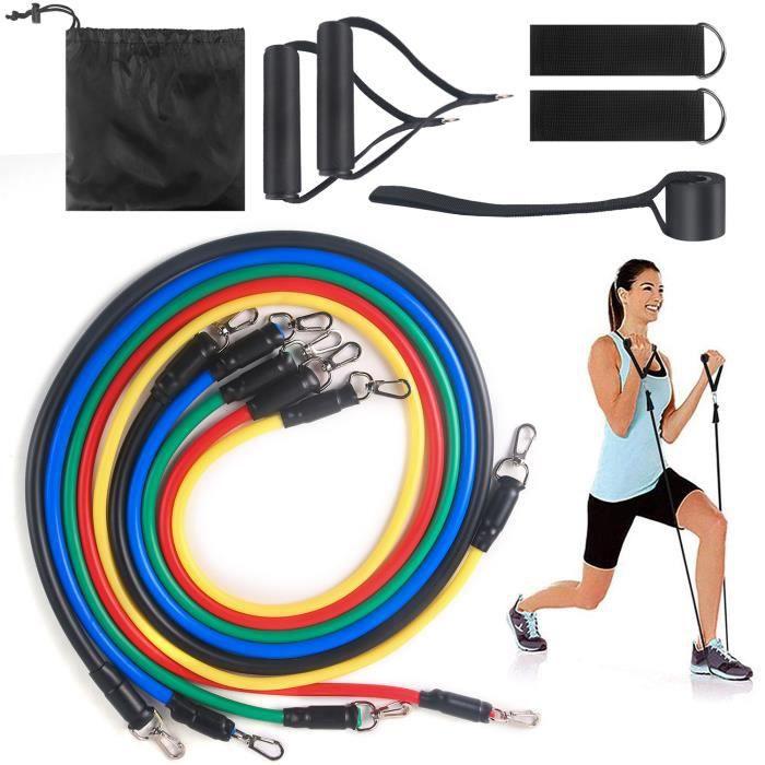11PCS Set Bande Élastique Fitness Musculation Sport de Résistance Traction Large