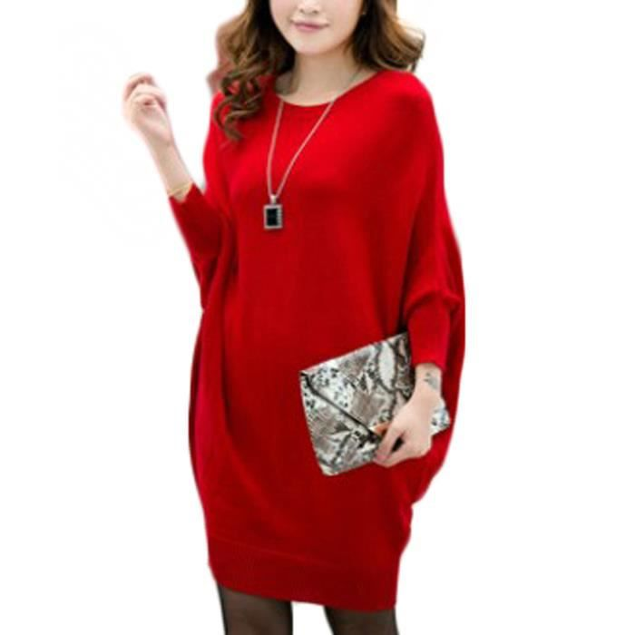 pull tunique femme coton robe courte tricot e manche 3 4 chauve souris gilet longue rouge rouge. Black Bedroom Furniture Sets. Home Design Ideas