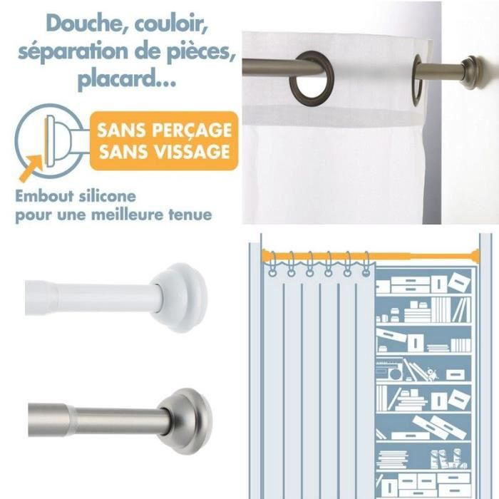 Tringle rideaux sans percage achat vente tringle for Barre de penderie sans percer