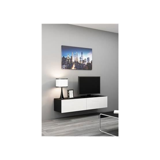 meuble tv design suspendu vito 140cm noir et blanc achat. Black Bedroom Furniture Sets. Home Design Ideas