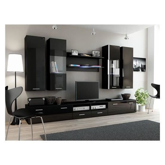 ensemble meubles tv design sirus 2 noir composition bois laqu achat vente meuble tv. Black Bedroom Furniture Sets. Home Design Ideas