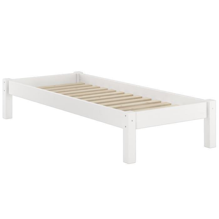 STRUCTURE DE LIT 60.35-09WFL Lit futon en pin massif lasuré blanc,