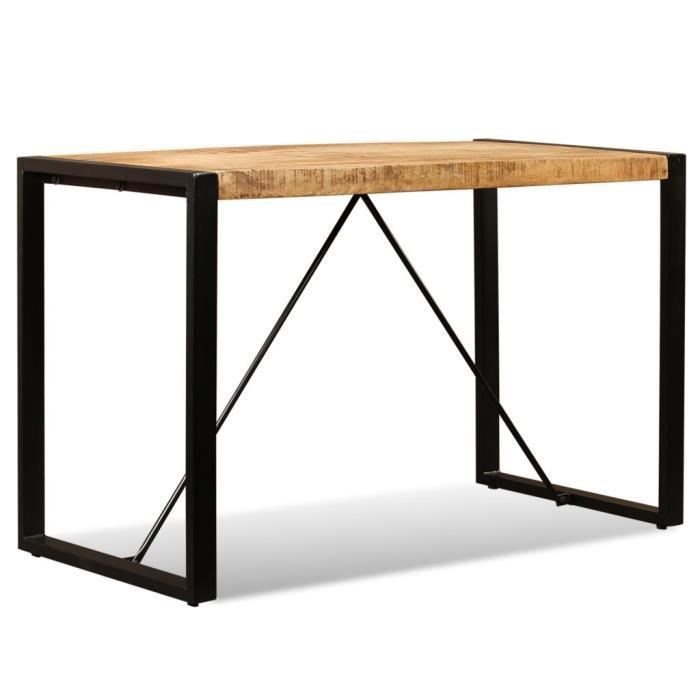 Tidyard Table de Salle /à Manger Table Industrielle 140x80x76 cm Bois de Manguier Massif Table de Cuisine