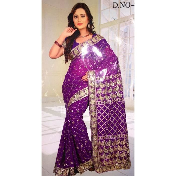 sari indien pas cher violet perle sequin bollywood deguisement indien mariage violet achat. Black Bedroom Furniture Sets. Home Design Ideas