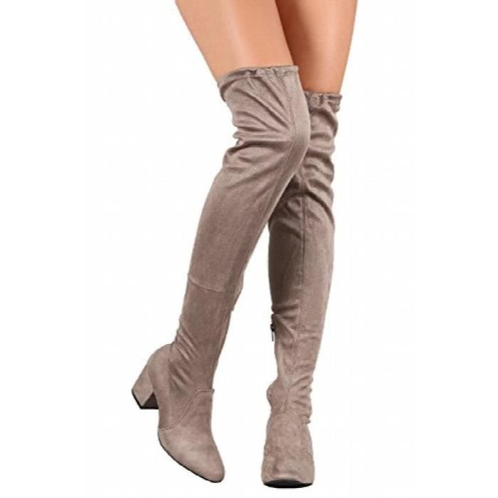 Over The Knee Boots Sexy Pull On Highleg Suede Thigh High Winter Low Block Heel Boots SUCEC Taille-37 1-2 vlfDS