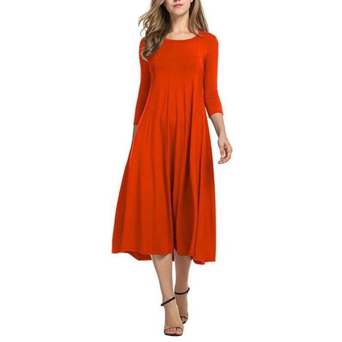 Femme Robe Tunique Mi Longue Casual Mode Solid Color Jupe Col Rond Orange Orange Achat Vente Robe Cdiscount