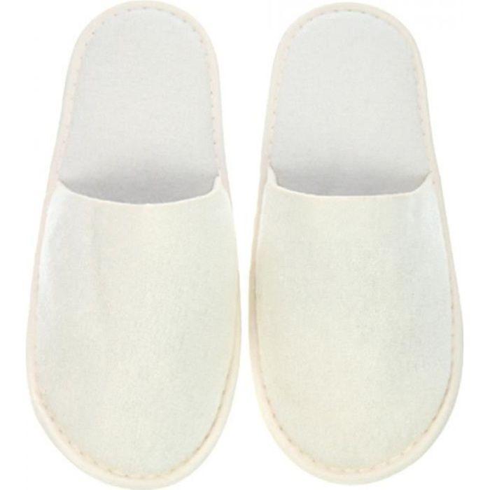 10 Paires HOTEL SPA invité pantoufles bout ouvert blanc velours luxe unisexe nouveau style