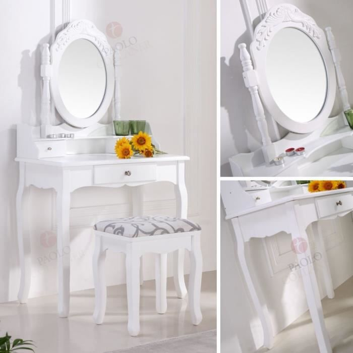coiffeuse blanche avec si ge et miroir achat vente. Black Bedroom Furniture Sets. Home Design Ideas