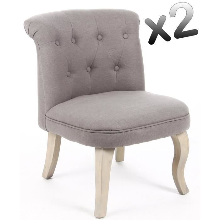 lot de 2 fauteuils crapaud lin coloris gris h6 achat vente fauteuil lin cdiscount. Black Bedroom Furniture Sets. Home Design Ideas