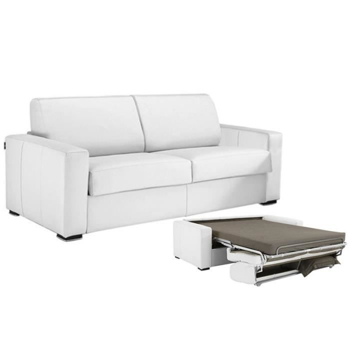 canap convertible milano cuir vachette blanc 140 achat. Black Bedroom Furniture Sets. Home Design Ideas