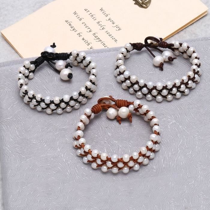 Womens Cultured Freshwater Pearl Leather Braided Bracelet 3 Row Handwoven Jewelry EOIW5