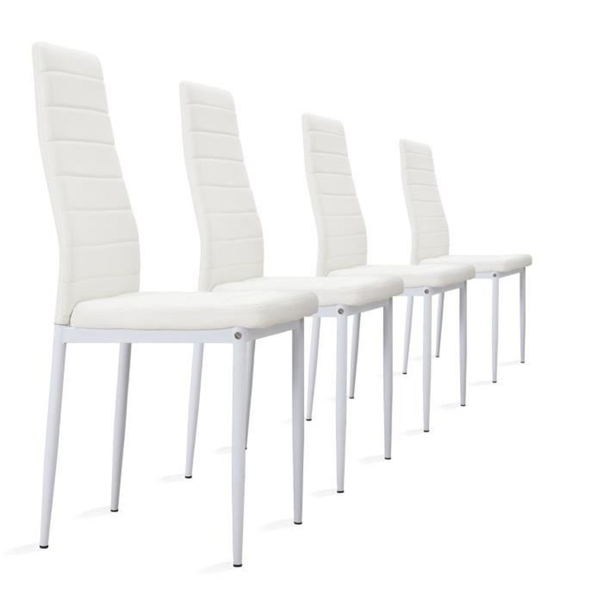 lot de 4 chaises blanches en simili cuir achat vente chaise cdiscount. Black Bedroom Furniture Sets. Home Design Ideas