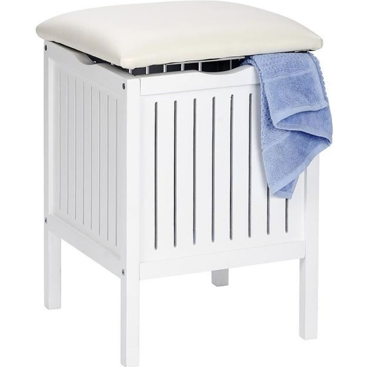 tabouret coffre linge en bois olso blanc achat vente tabouret de bar soldes d s le 27. Black Bedroom Furniture Sets. Home Design Ideas