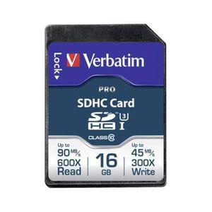 CARTE MÉMOIRE Carte SDHC Verbatim Pro 16 Go Class 10, UHS-I, UHS
