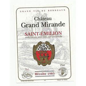ASSORTIMENT VIN etiquette de vin chateau grand mirande saint emili