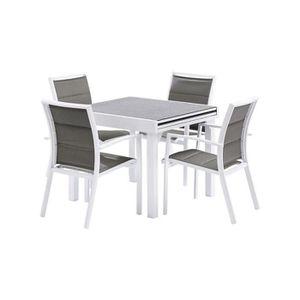 SALON DE JARDIN  Salon de jardin Modulo L90 Stone 4 fauteuils blanc