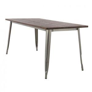 TABLE À MANGER SEULE Table LIX Brossée en Bois (160x80)  Bois FoncéAcie