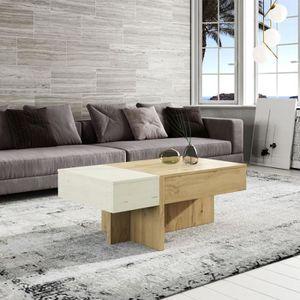 TABLE BASSE Table basse relevable Bois blanc/Chêne blond - AJA
