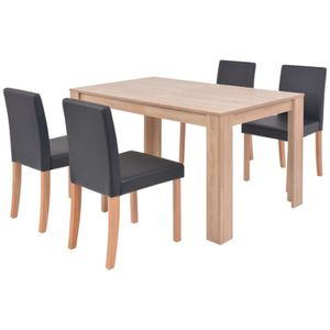 TABLE DE CUISINE  vidaXL Table et chaises 5 pcs Cuir synthétique Chê