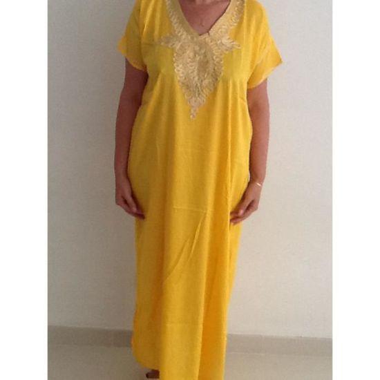 Djellaba robe jaune mariage maroc - Achat