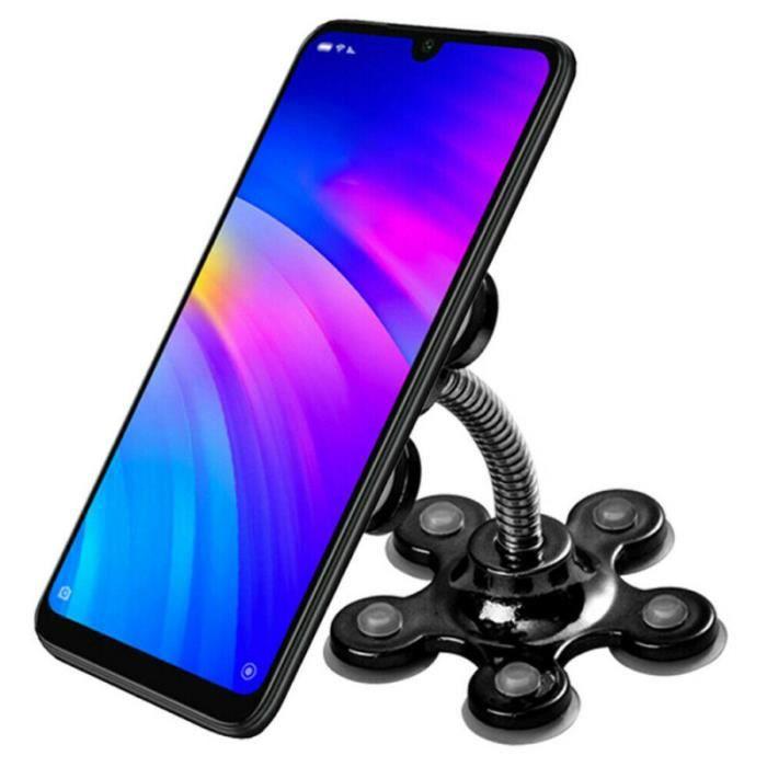 360 ° Rotation Sucker Support de téléphone Ventouse Support de support mobile pour fleur Support universel 07050K01 Noir