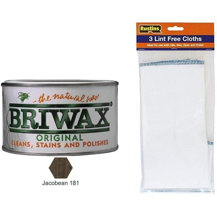 Briwax Original Jacobin Cire Vernis de Meubles 400g Avec 3 Paquet De Linf Gratuit Chiffons