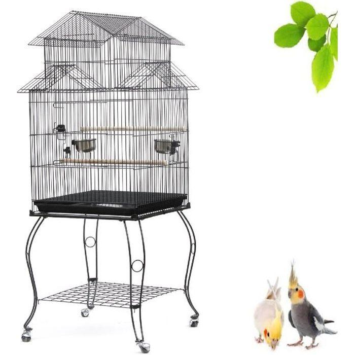 QIAN Grand Cage Oiseaux à Roulettes Volière en Métal Pour Canaris/Perruches/Oiseaux exotiques - Noir 59 x59 x139.5 cm