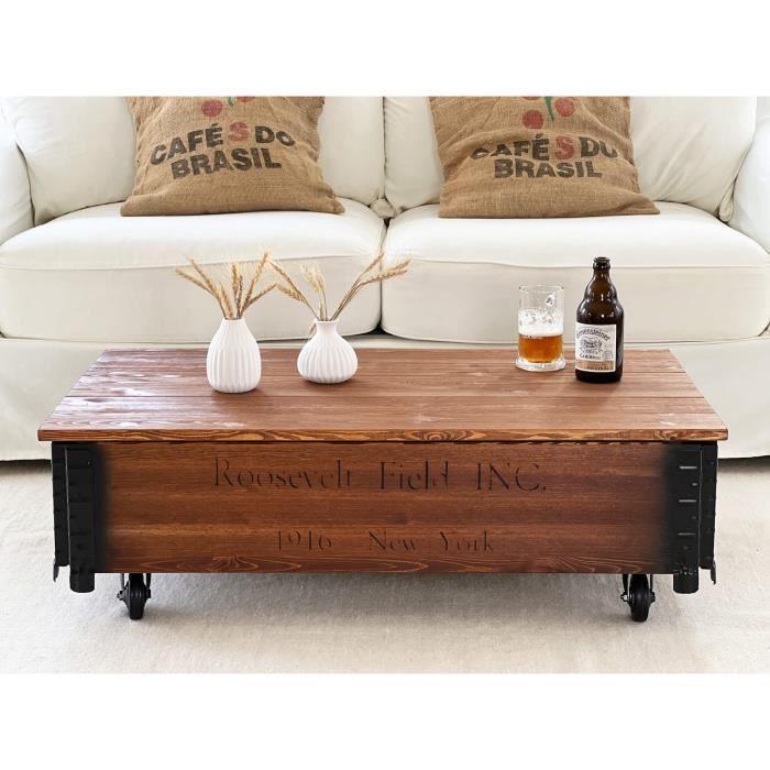 Table basse coffre en bois table d'appoint vintage style shabby chic Bois Massif Noyer