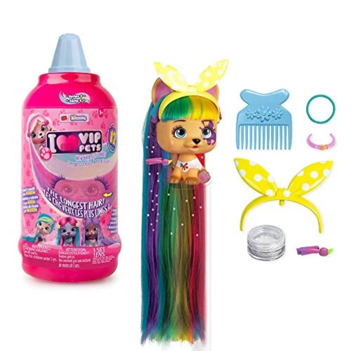 Poupee GERZZ VIP Pets Surprise Hair Reveal Doll Series 1 Bouteille de mousse, multi