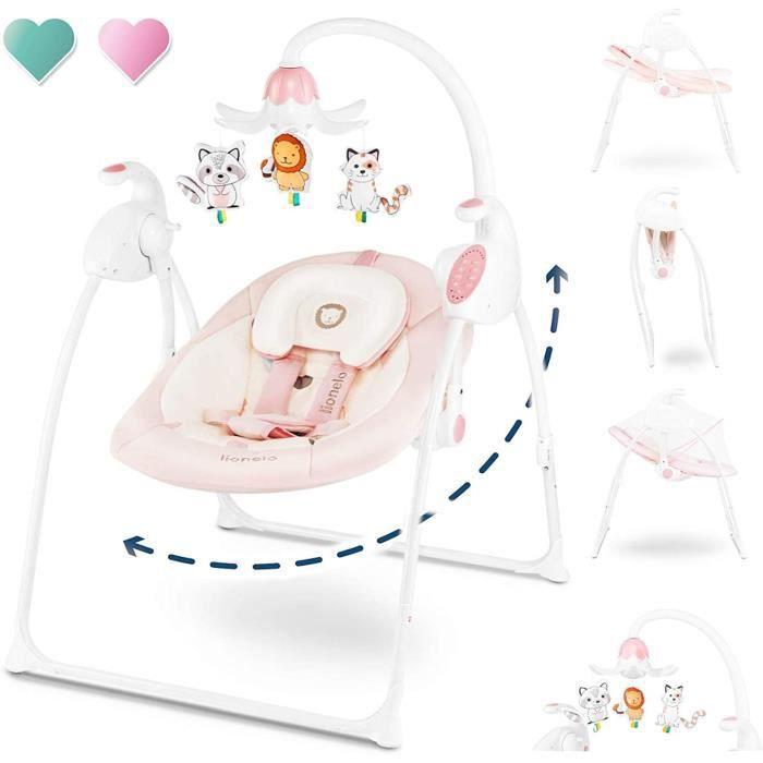 Lionelo Robin bébé balançoire électrique 0 à 9 kg avec fonction couchée 12 mélodies 8 vitesses de bascule moustiquaire boîte à musiq