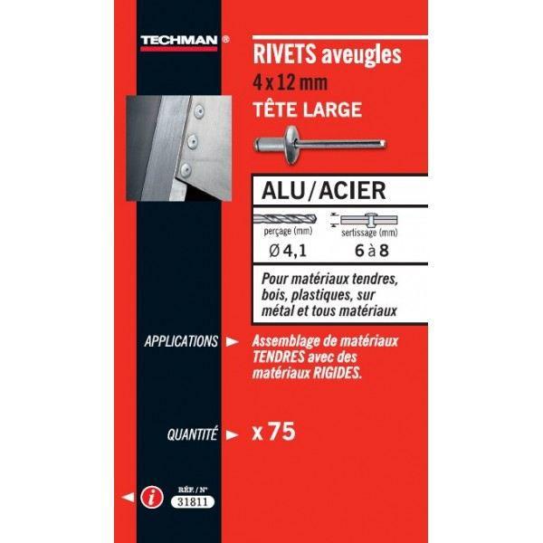 RIVET ALU-ACIER T LRG 4,8X14(50) Techman