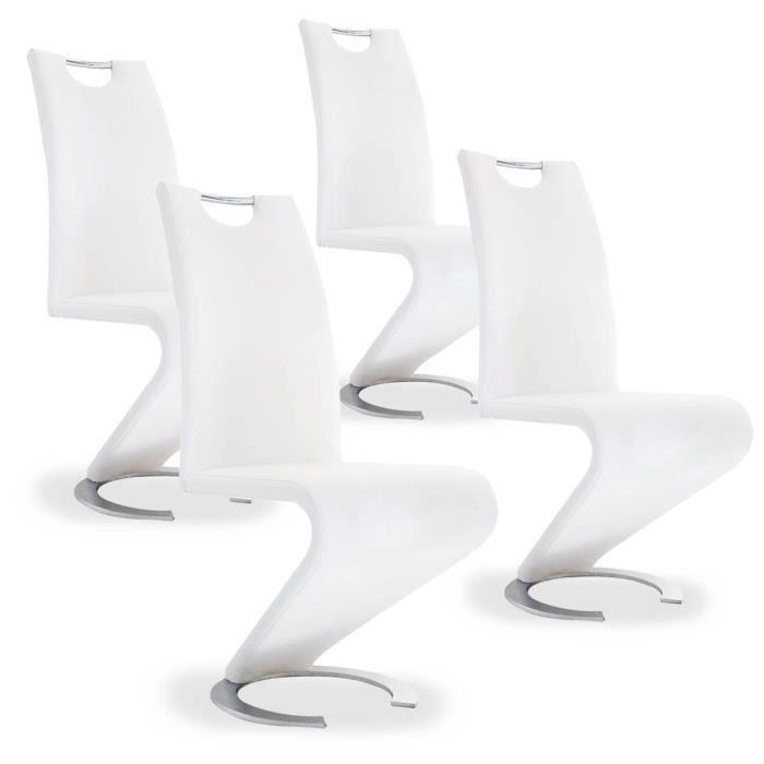 KIZA - Lot de 4 chaises design en simili cuir blanc