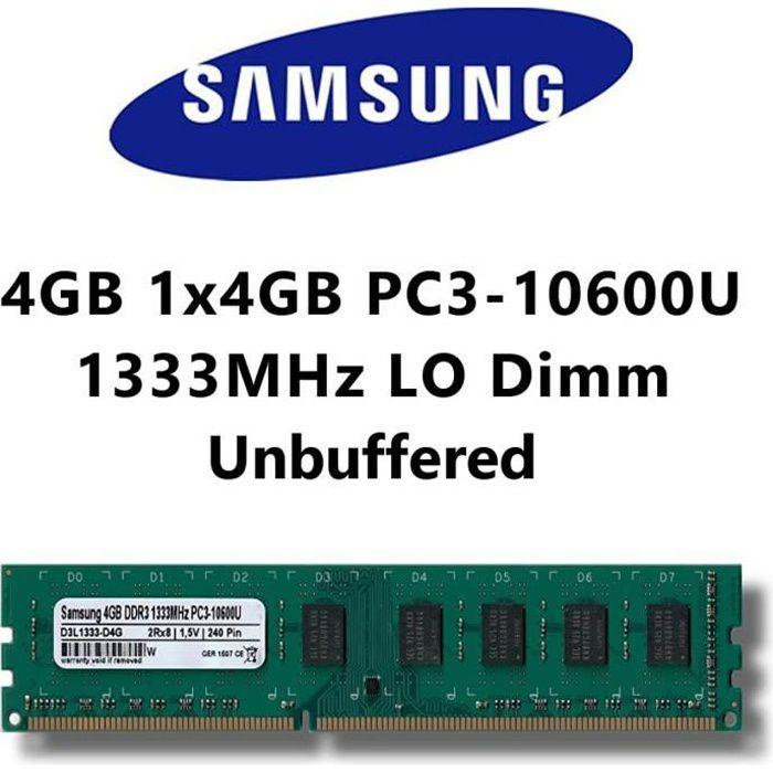 Samsung 4 Gb (1 x 4 Go) Ddr3 1333 Mhz (Pc3 10600U) Lo Dimm pour Pc Ordinateur de Bureau mémoire Ram