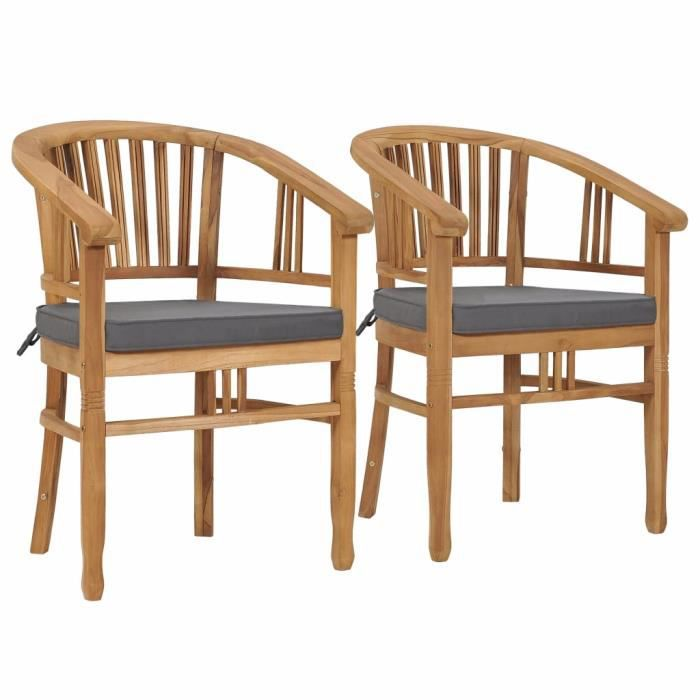 FURNI 2 x chaises Bistro Lot de 2 Chaises de jardin avec coussins -Chaises d'extérieur - Fauteuil de Jardin Bois de ®TMMDAN®