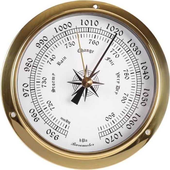 1 -Thermomètre mural 115mm, hygromètre, baromètre, montre, horloge, Station météo, coque en cuivre, intérieur et extérieur